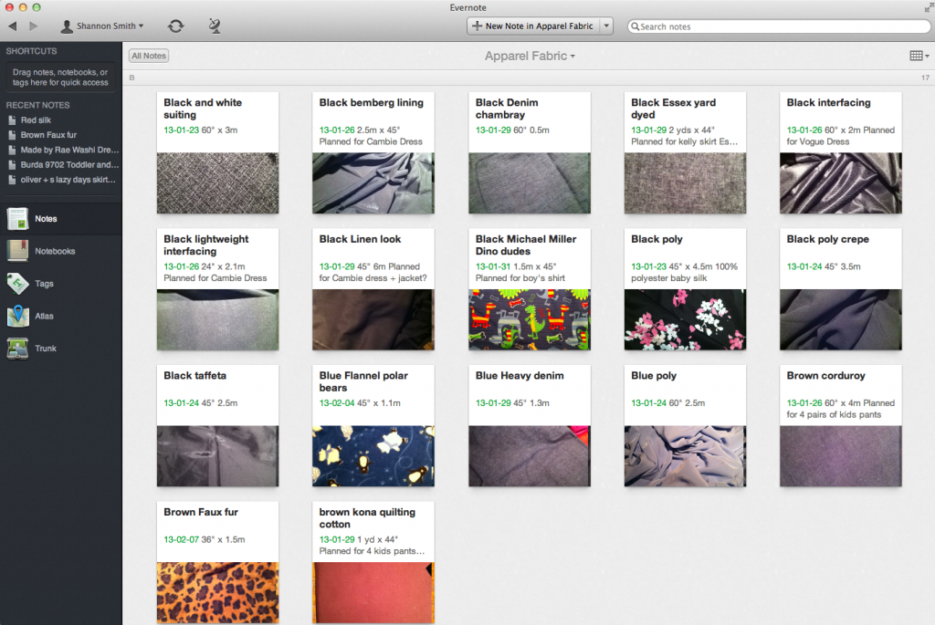 Evernote Fabric Stash Collection