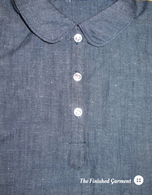 Curved collar and front placket