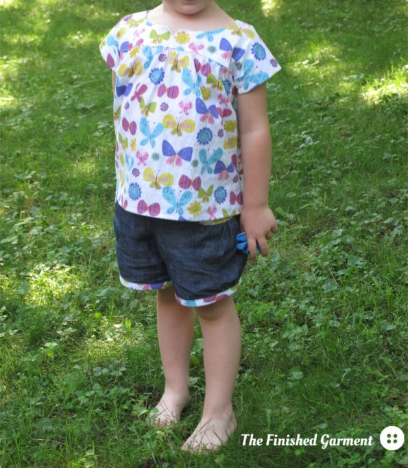 Ice Cream Dress and Puppet Show Shorts sewing pattern from Oliver + S, sewn by The Finished Garment.