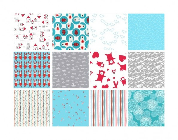 Snow Day Bundle - A cool and contemporary selection of Aquas, Reds, Greys and crispy whites hand-picked by Shannon Smith of The Finished Garment exclusively for Warp & Weft | Exquisite Textiles