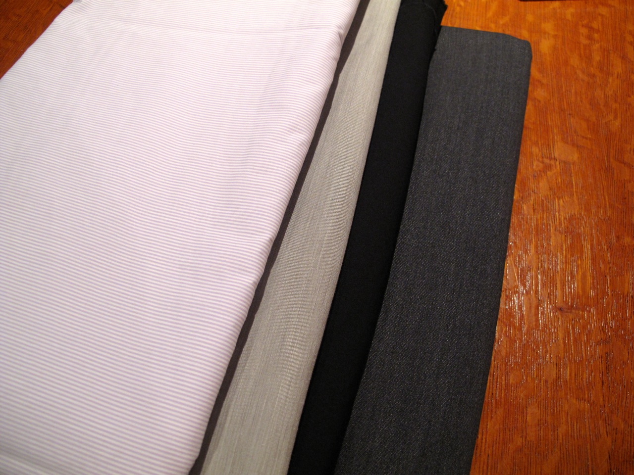 The second one is the grey that Mr Garment did not care for. The other three are his choices.