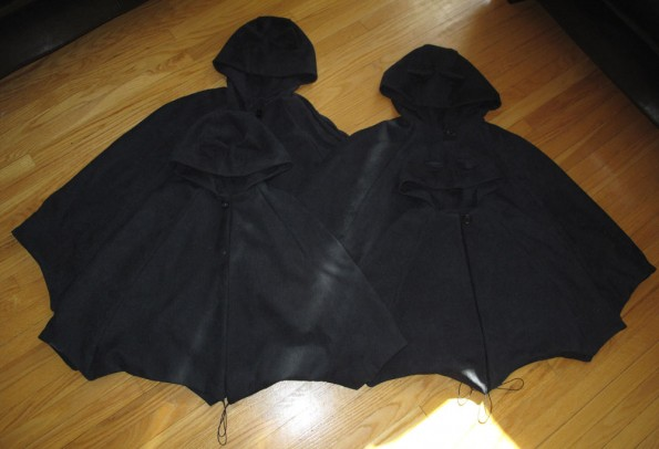 Four bat costumes using the Oliver + S  Red Riding Hood pattern from Little Things to Sew.