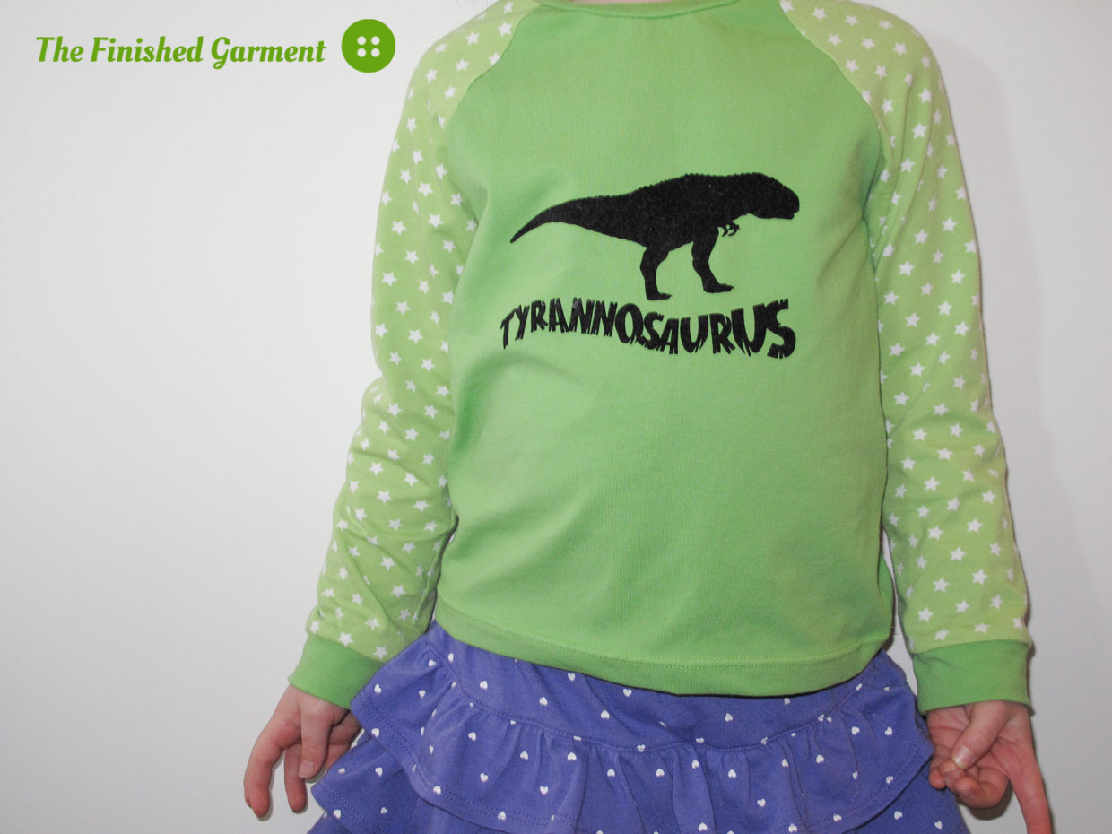 Dino tees sewn by The Finished Garment, using the Oliver + S field trip tee sewing pattern.